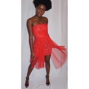 Tulle & Sequin Red OverLay Dress